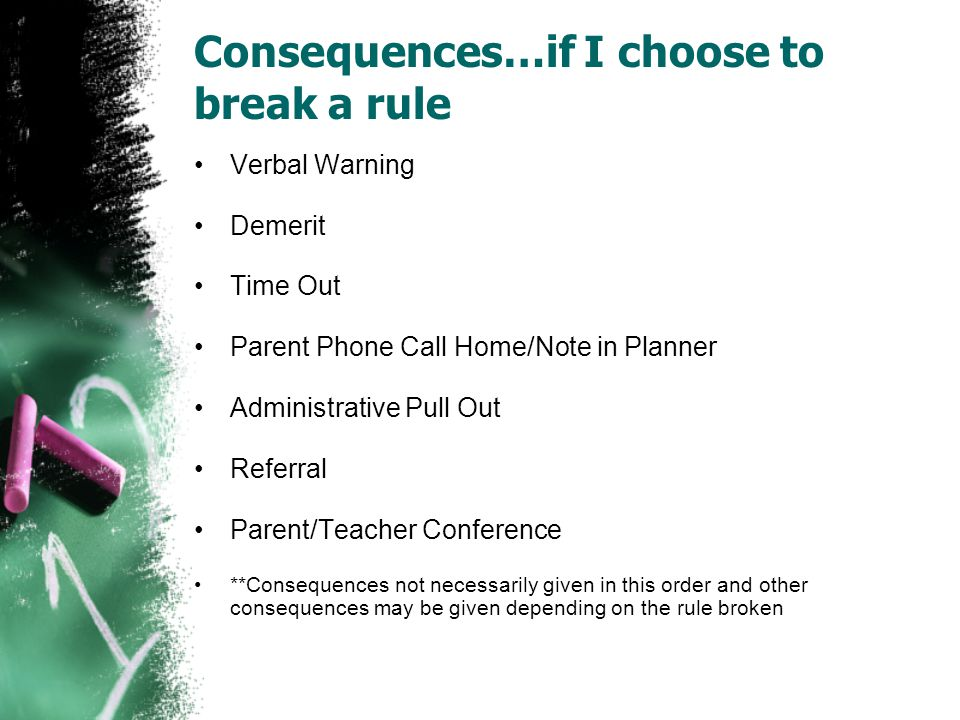 Consequences…if I choose to break a rule Verbal Warning Demerit Time Out Parent Phone Call Home/Note in Planner Administrative Pull Out Referral Parent/Teacher Conference **Consequences not necessarily given in this order and other consequences may be given depending on the rule broken