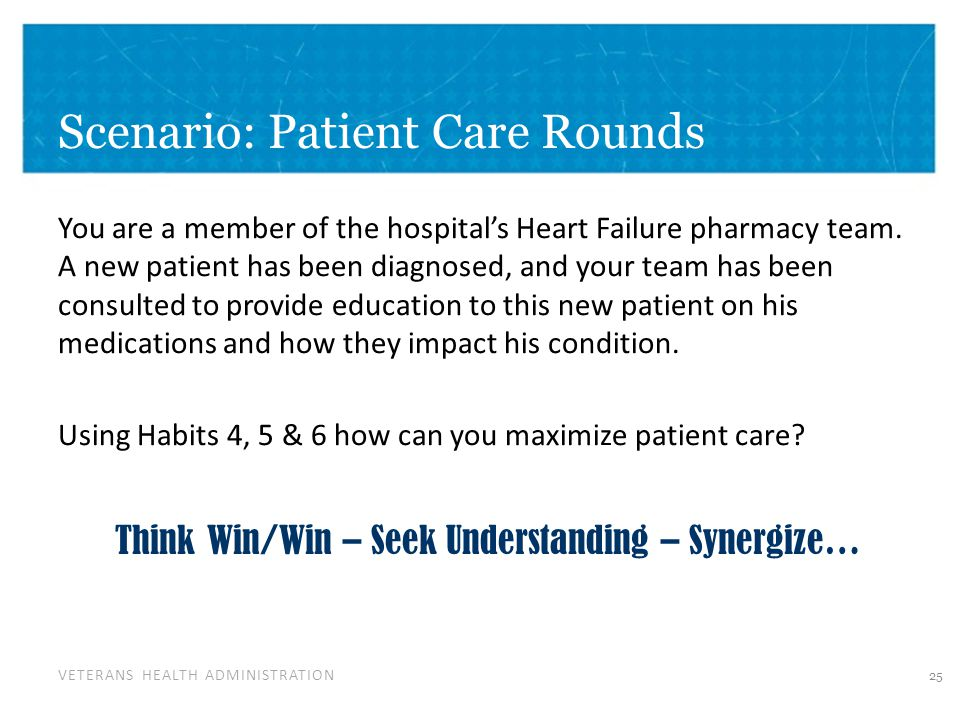 VETERANS HEALTH ADMINISTRATION Scenario: Patient Care Rounds You are a member of the hospital's Heart Failure pharmacy team.