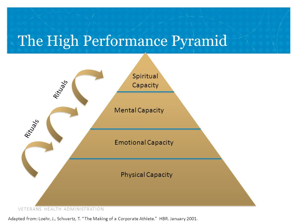 VETERANS HEALTH ADMINISTRATION The High Performance Pyramid Spiritual Capacity Mental Capacity Emotional Capacity Physical Capacity Adapted from: Loehr, J., Schwartz, T.