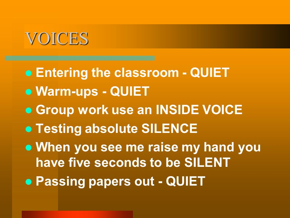 VOICES Entering the classroom - QUIET Warm-ups - QUIET Group work use an INSIDE VOICE Testing absolute SILENCE When you see me raise my hand you have five seconds to be SILENT Passing papers out - QUIET