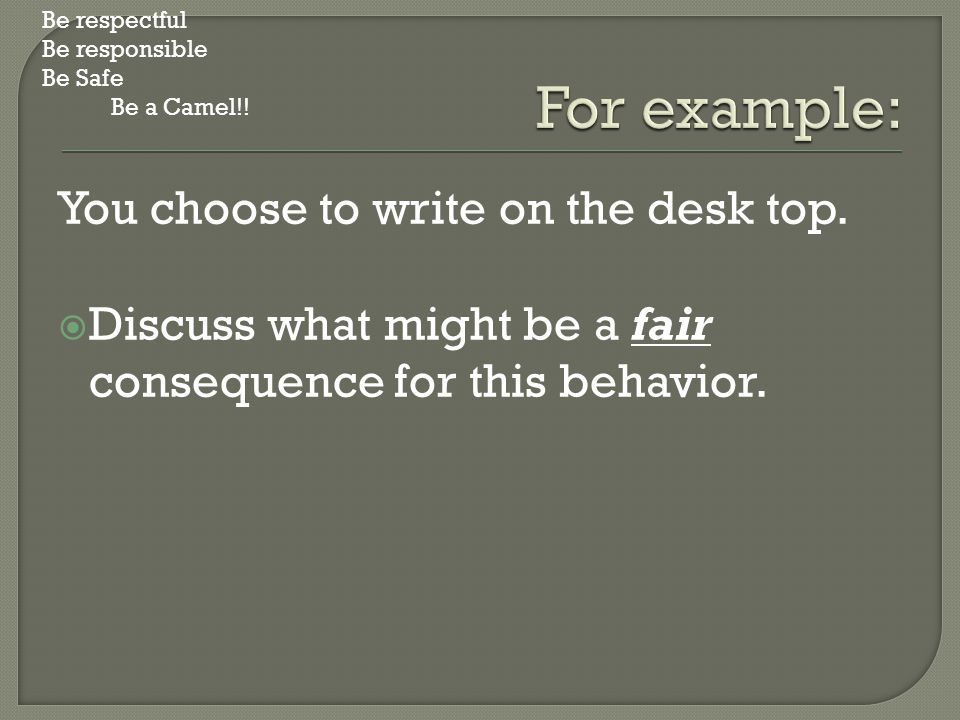 You choose to write on the desk top.  Discuss what might be a fair consequence for this behavior. Be respectful Be responsible Be Safe Be a Camel!!