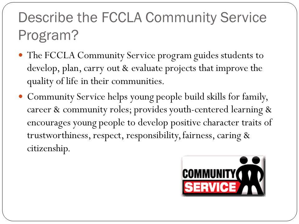 Describe the FCCLA Community Service Program.