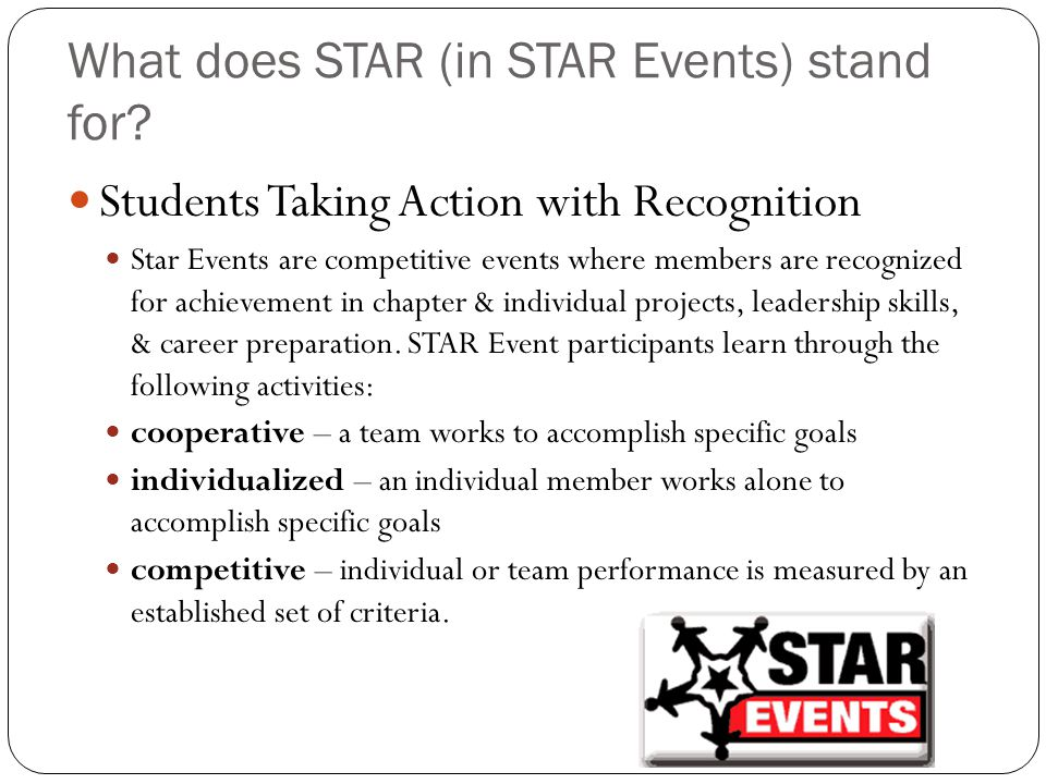 What does STAR (in STAR Events) stand for.