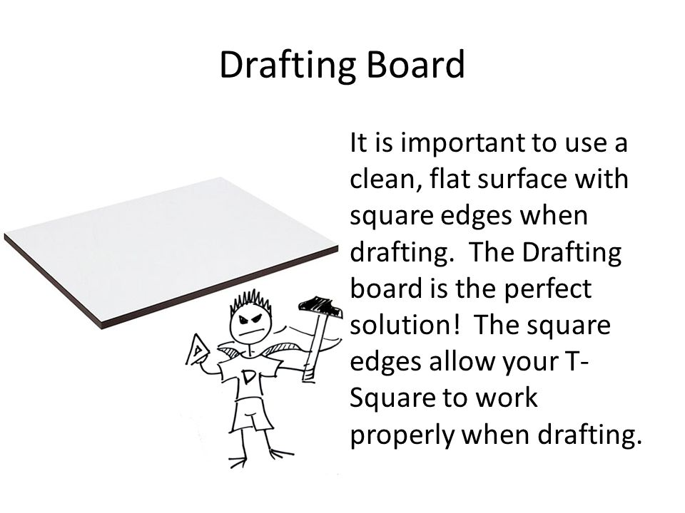 Drafting Board It is important to use a clean, flat surface with square edges when drafting. The Drafting board is the perfect solution! The square ed