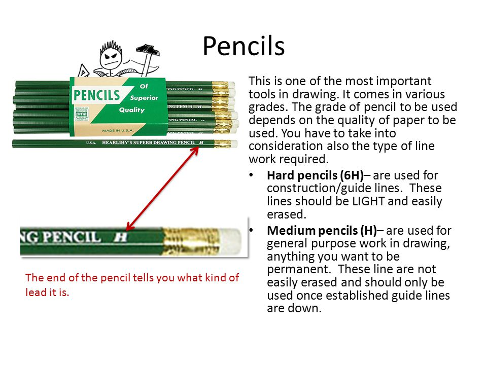 Pencils This is one of the most important tools in drawing. It comes in various grades. The grade of pencil to be used depends on the quality of paper