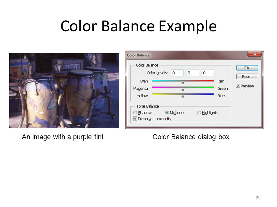 Color Balance Example 20 An image with a purple tintColor Balance dialog box