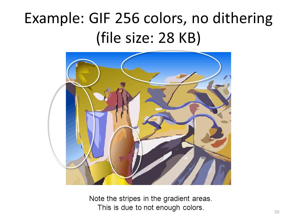 Example: GIF 256 colors, no dithering (file size: 28 KB) 50 Note the stripes in the gradient areas.