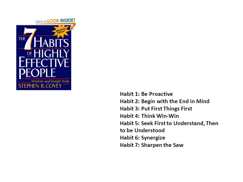 Habit 1: Be Proactive Habit 2: Begin with the End in Mind Habit 3: Put First Things First Habit 4: Think Win-Win Habit 5: Seek First to Understand, Then to be Understood Habit 6: Synergize Habit 7: Sharpen the Saw