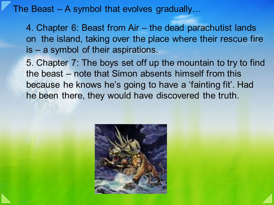 The Beast – A symbol that evolves gradually… 4. Chapter 6: Beast from Air – the dead parachutist lands on the island, taking over the place where thei