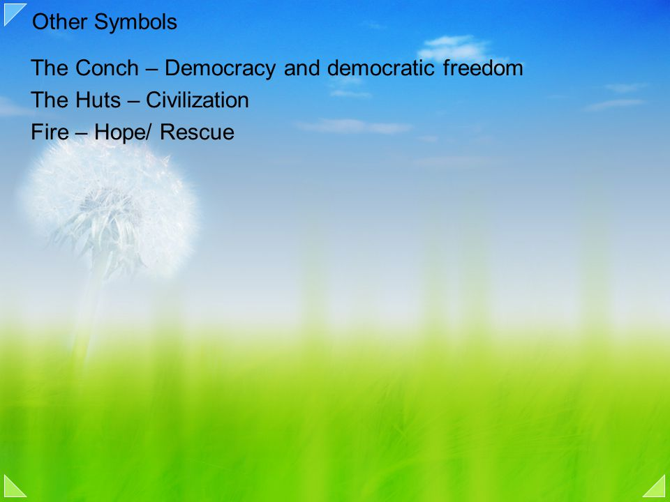 Other Symbols The Conch – Democracy and democratic freedom The Huts – Civilization Fire – Hope/ Rescue