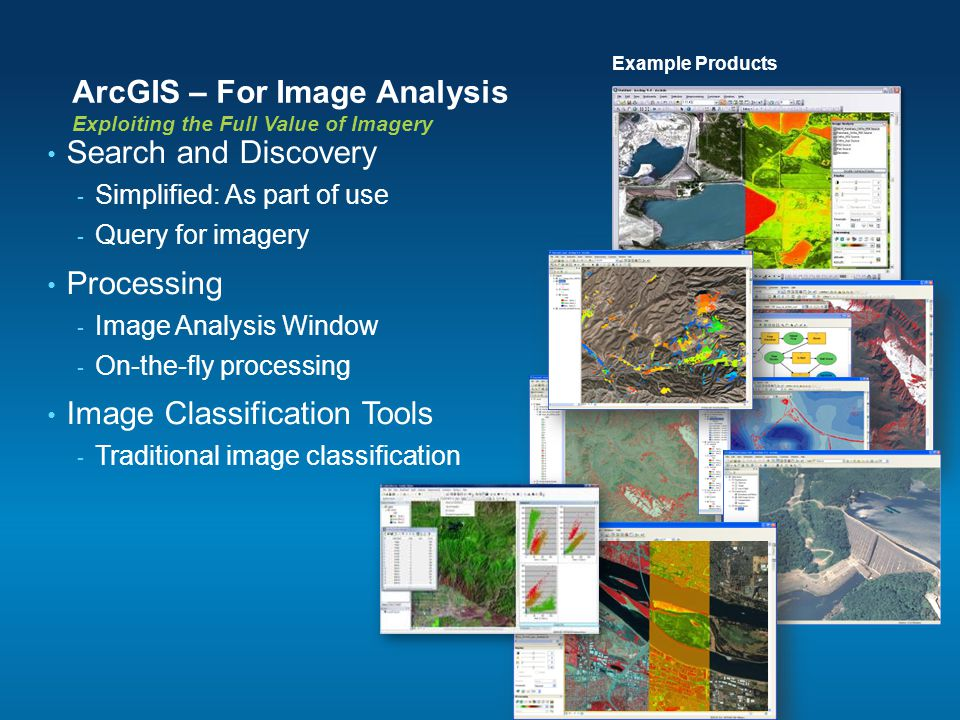 ArcGIS – For Image Analysis Exploiting the Full Value of Imagery Search and Discovery - Simplified: As part of use - Query for imagery Processing - Im