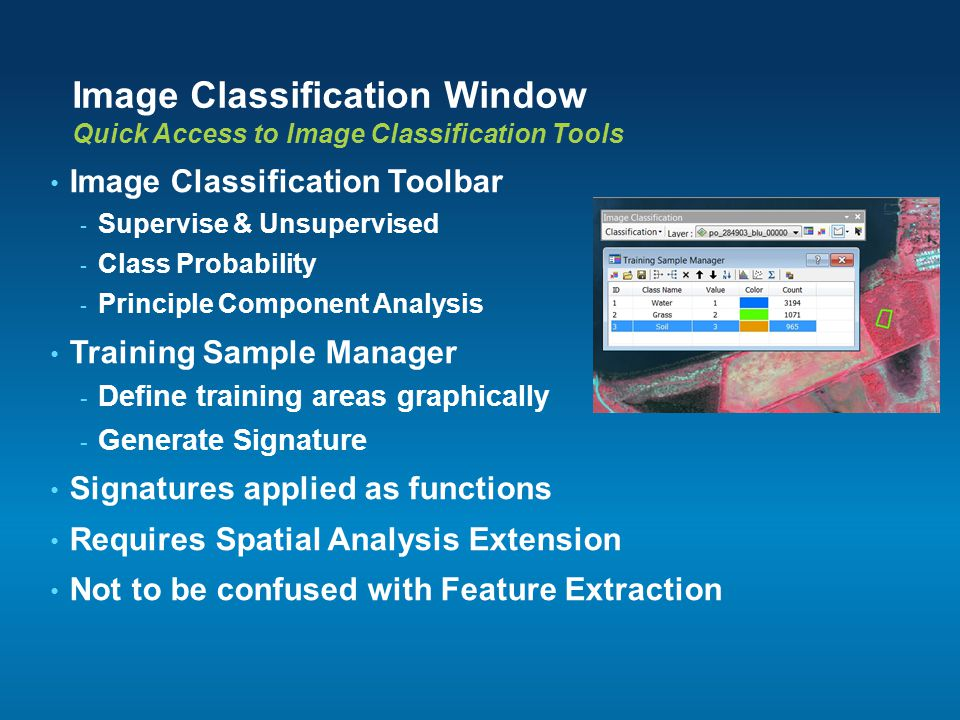 Image Classification Window Quick Access to Image Classification Tools Image Classification Toolbar - Supervise & Unsupervised - Class Probability - P