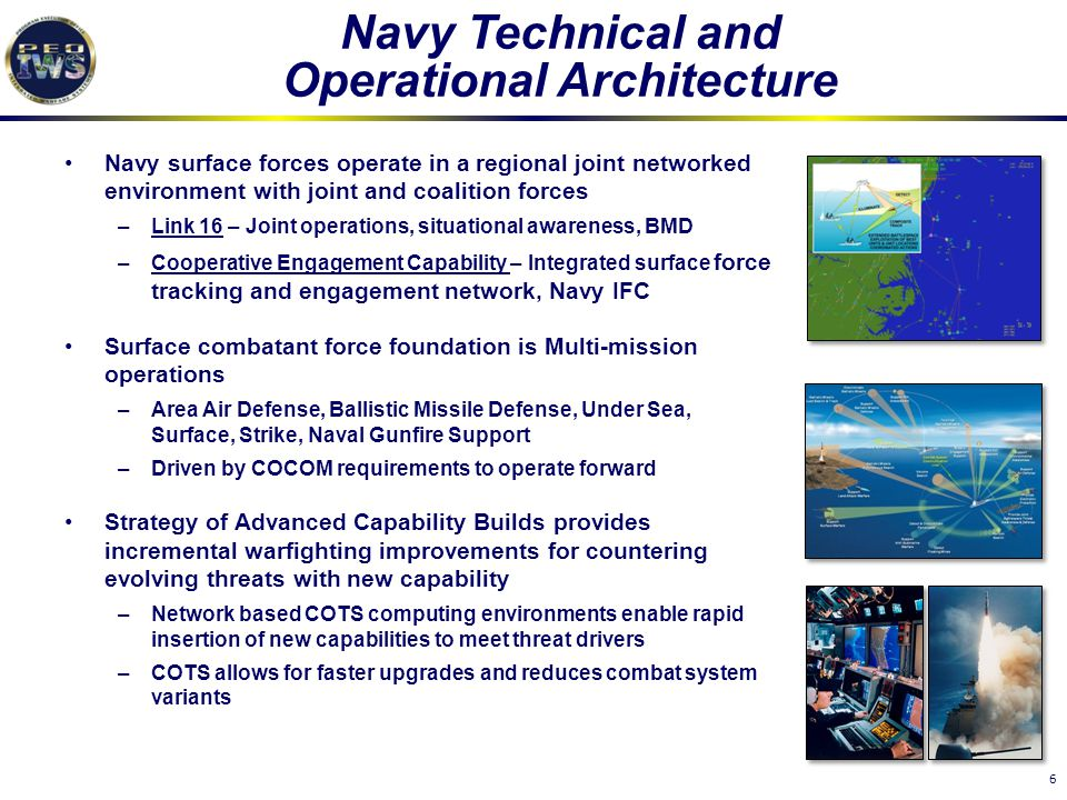 6 Navy Technical and Operational Architecture Navy surface forces operate in a regional joint networked environment with joint and coalition forces –L