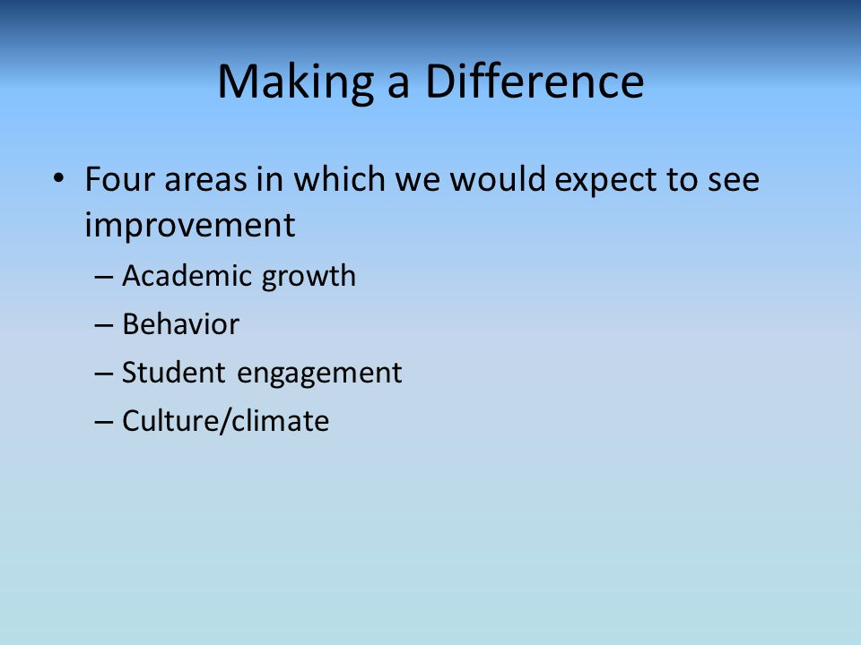Making a Difference Four areas in which we would expect to see improvement – Academic growth – Behavior – Student engagement – Culture/climate