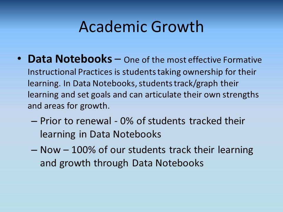 Academic Growth Data Notebooks – One of the most effective Formative Instructional Practices is students taking ownership for their learning.