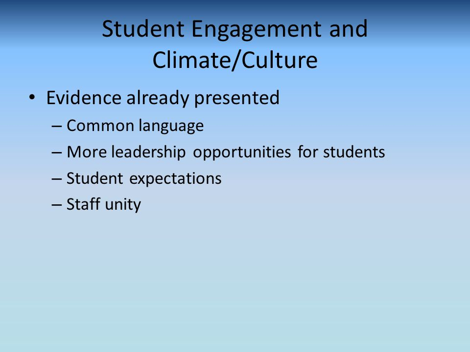 Student Engagement and Climate/Culture Evidence already presented – Common language – More leadership opportunities for students – Student expectations – Staff unity