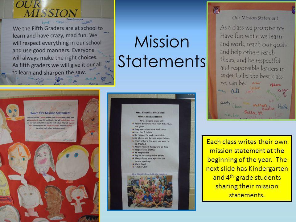 Kindergarten and 4 th Grade Mission Statements