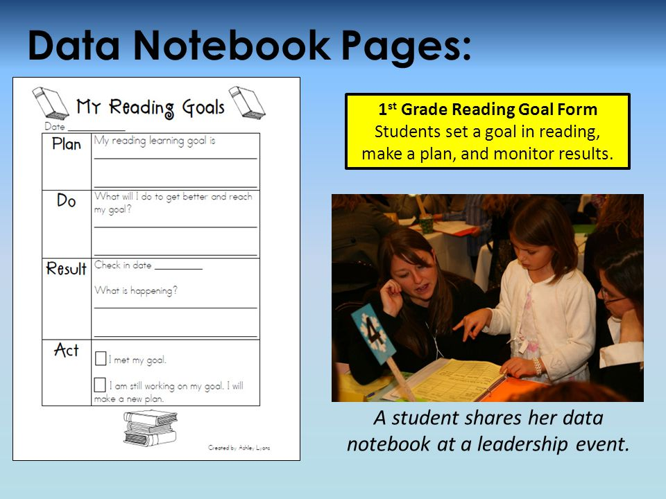 Data Notebook Pages: A student shares her data notebook at a leadership event.