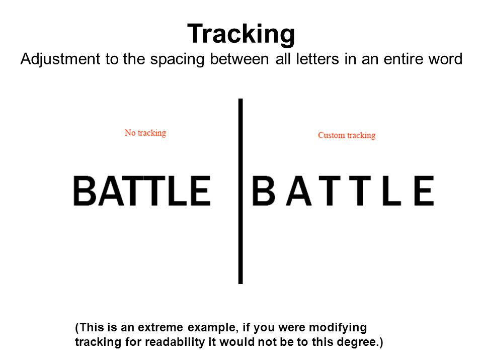 (This is an extreme example, if you were modifying tracking for readability it would not be to this degree.) Tracking Adjustment to the spacing betwee