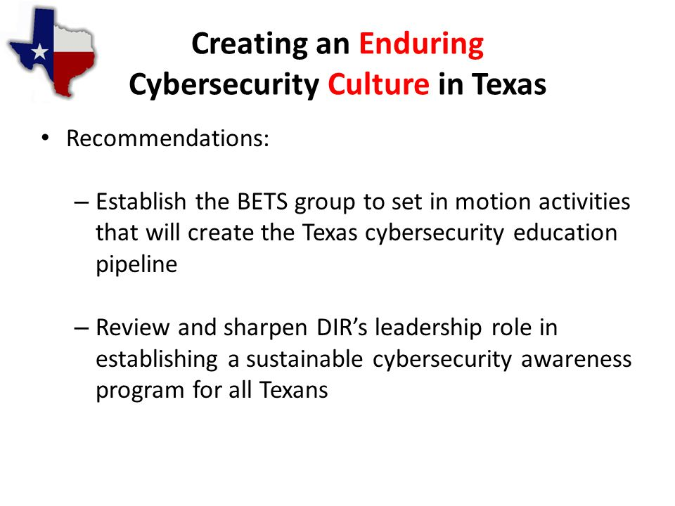 Creating an Enduring Cybersecurity Culture in Texas Recommendations: – Establish the BETS group to set in motion activities that will create the Texas cybersecurity education pipeline – Review and sharpen DIR's leadership role in establishing a sustainable cybersecurity awareness program for all Texans