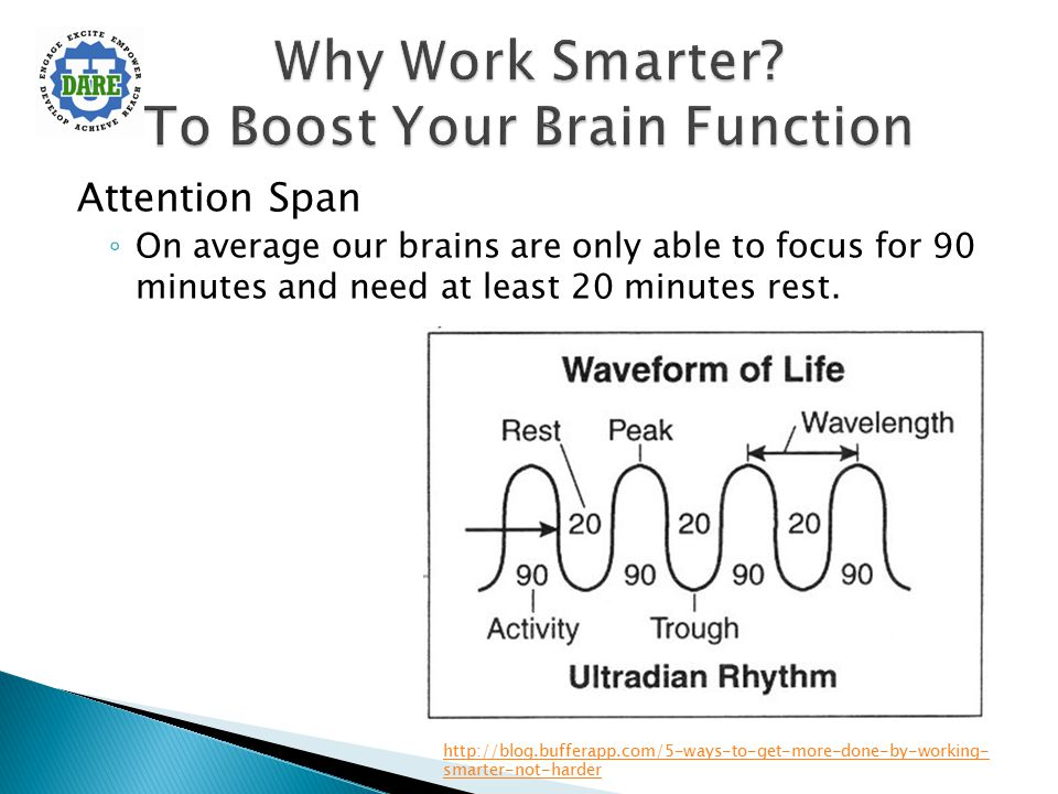 Attention Span ◦ On average our brains are only able to focus for 90 minutes and need at least 20 minutes rest. http://blog.bufferapp.com/5-ways-to-ge