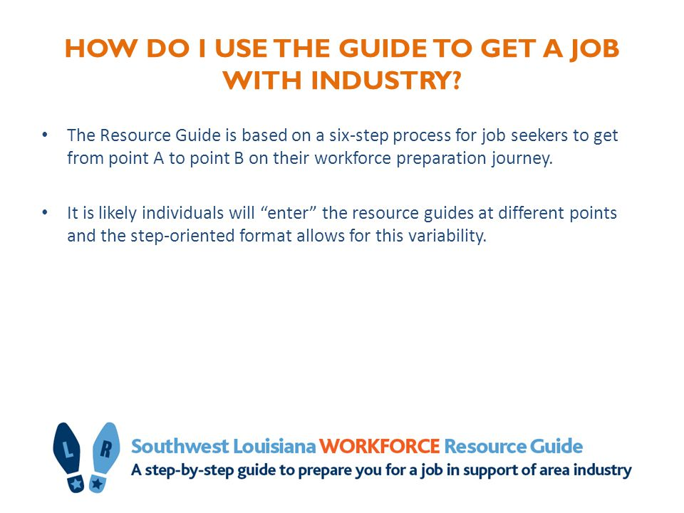 HOW DO I USE THE GUIDE TO GET A JOB WITH INDUSTRY? The Resource Guide is based on a six-step process for job seekers to get from point A to point B on