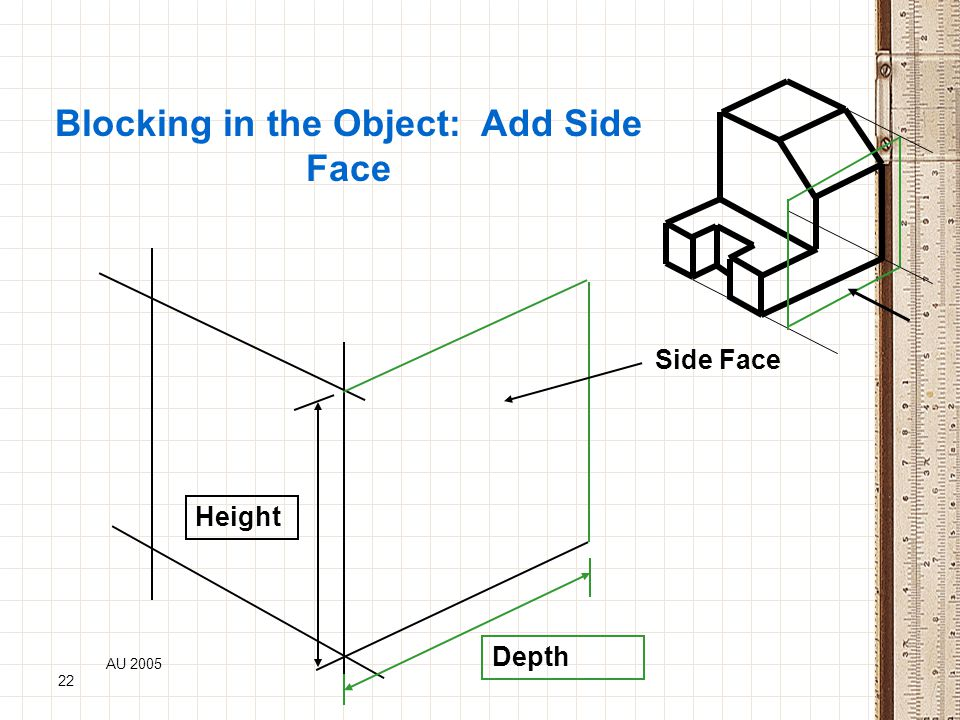 AU 2005 22 Blocking in the Object: Add Side Face Height Depth Side Face