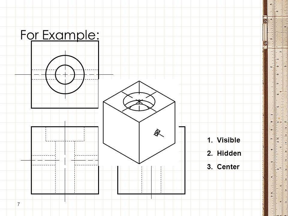 7 For Example: 1. Visible 2. Hidden 3. Center