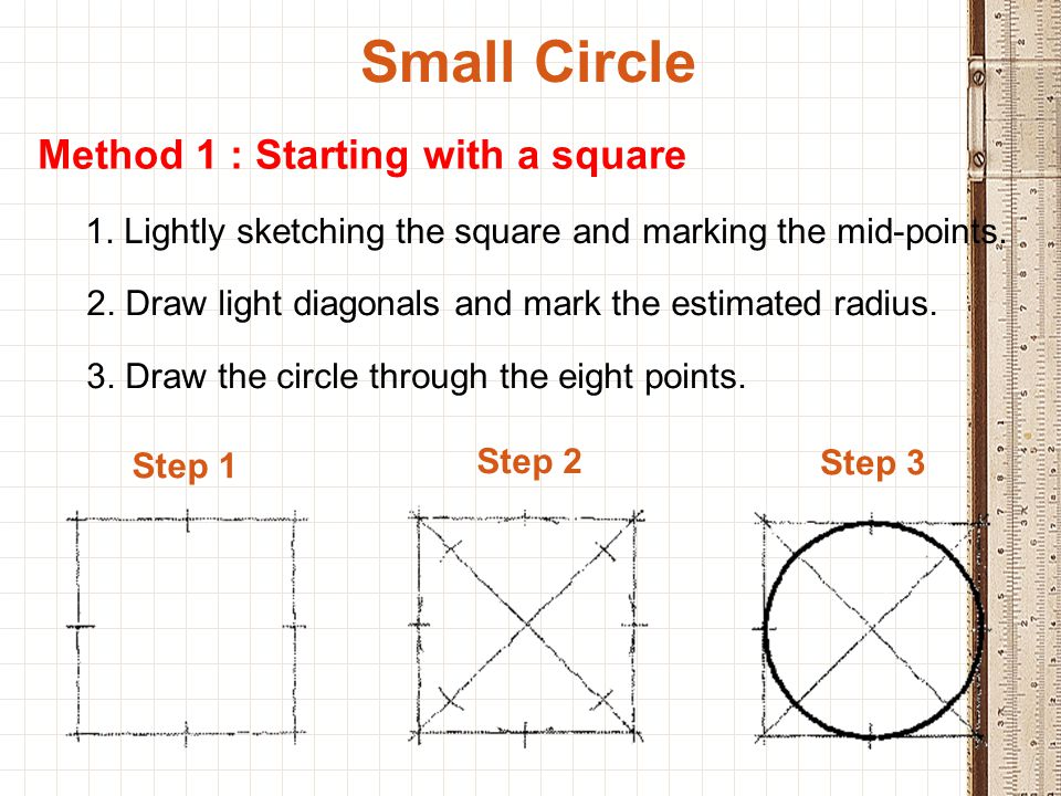 Small Circle Method 1 : Starting with a square 1. Lightly sketching the square and marking the mid-points. 2. Draw light diagonals and mark the estima
