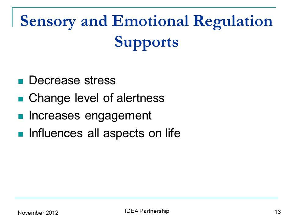 Sensory and Emotional Regulation Supports Decrease stress Change level of alertness Increases engagement Influences all aspects on life 13 IDEA Partnership November 2012