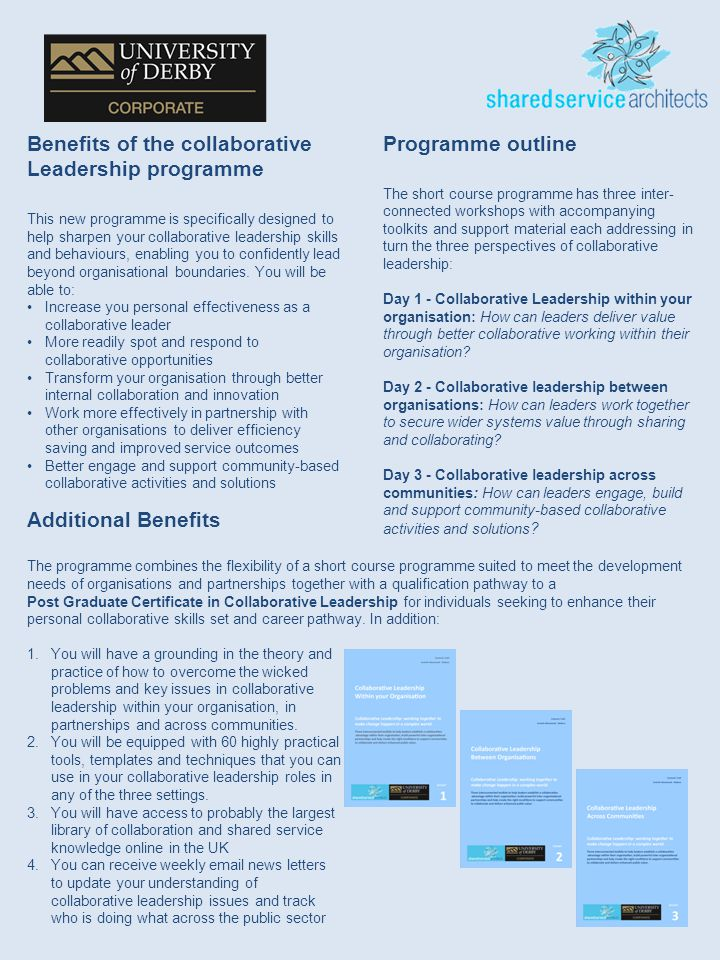 2 Benefits of the collaborative Leadership programme This new programme is specifically designed to help sharpen your collaborative leadership skills