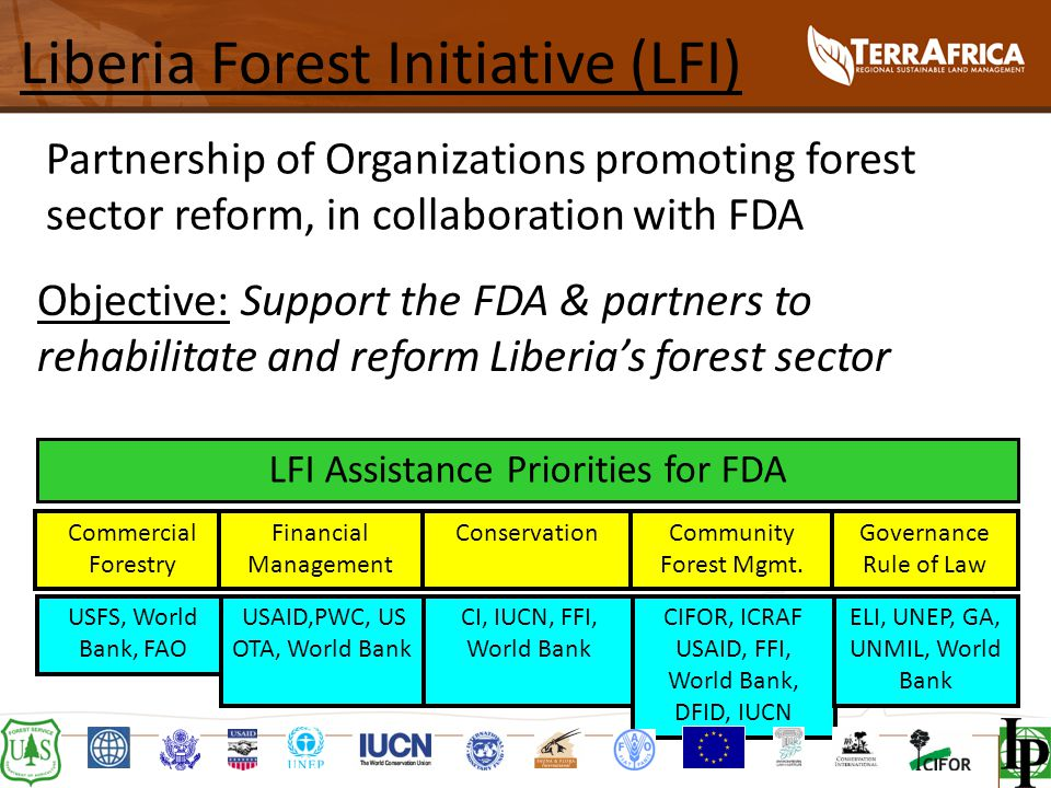 Liberia Forest Initiative (LFI) Partnership of Organizations promoting forest sector reform, in collaboration with FDA Commercial Forestry Financial Management ConservationCommunity Forest Mgmt.