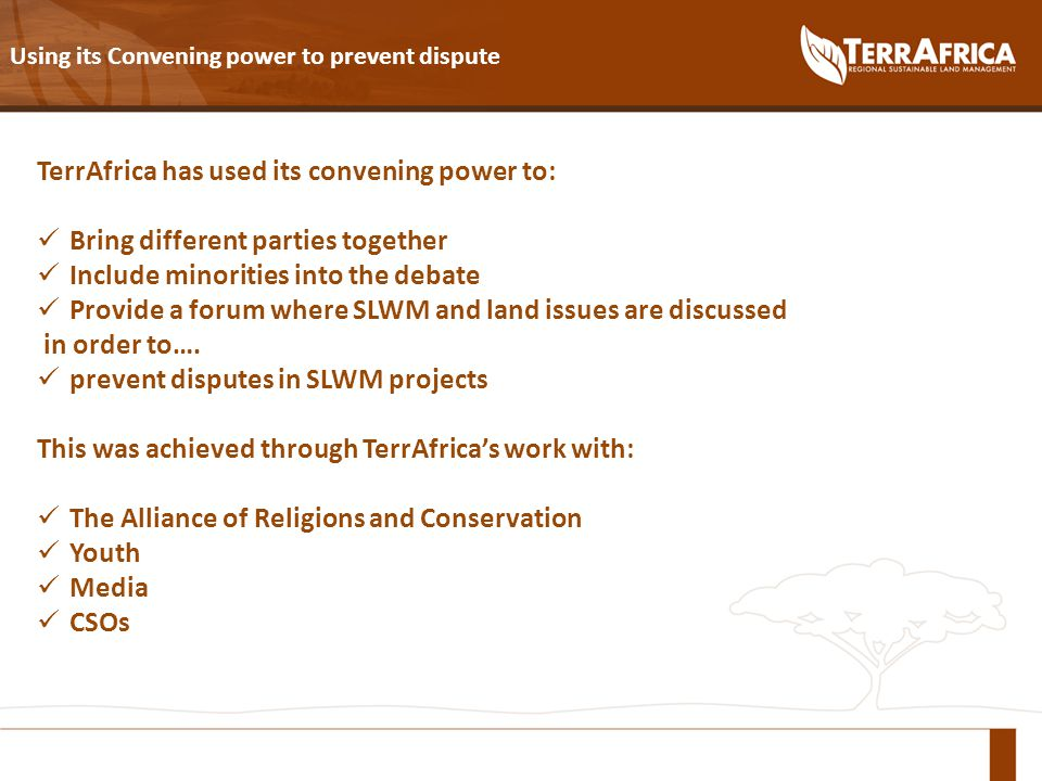 Using its Convening power to prevent dispute TerrAfrica has used its convening power to: Bring different parties together Include minorities into the debate Provide a forum where SLWM and land issues are discussed in order to….