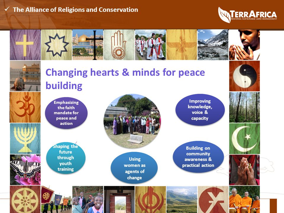 The Alliance of Religions and Conservation Changing hearts & minds for peace building Emphasizing the faith mandate for peace and action Improving knowledge, voice & capacity Building on community awareness & practical action Shaping the future through youth training Using women as agents of change