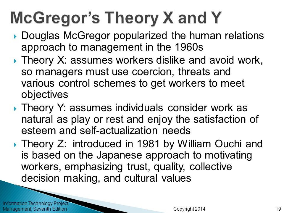 Copyright 2014  Douglas McGregor popularized the human relations approach to management in the 1960s  Theory X: assumes workers dislike and avoid work, so managers must use coercion, threats and various control schemes to get workers to meet objectives  Theory Y: assumes individuals consider work as natural as play or rest and enjoy the satisfaction of esteem and self-actualization needs  Theory Z: introduced in 1981 by William Ouchi and is based on the Japanese approach to motivating workers, emphasizing trust, quality, collective decision making, and cultural values Information Technology Project Management, Seventh Edition19