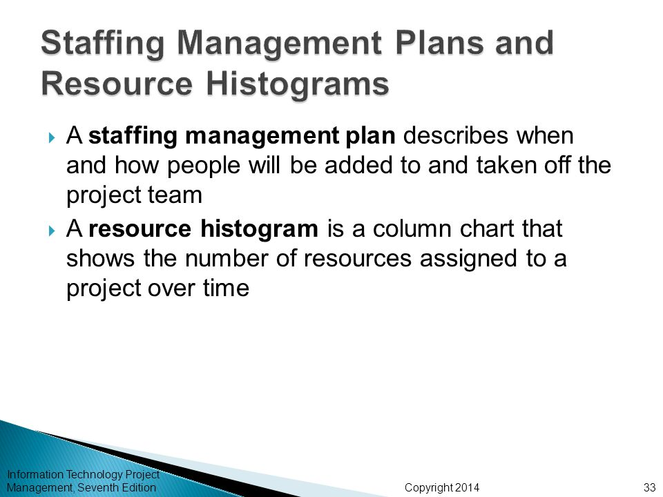 Copyright 2014  A staffing management plan describes when and how people will be added to and taken off the project team  A resource histogram is a