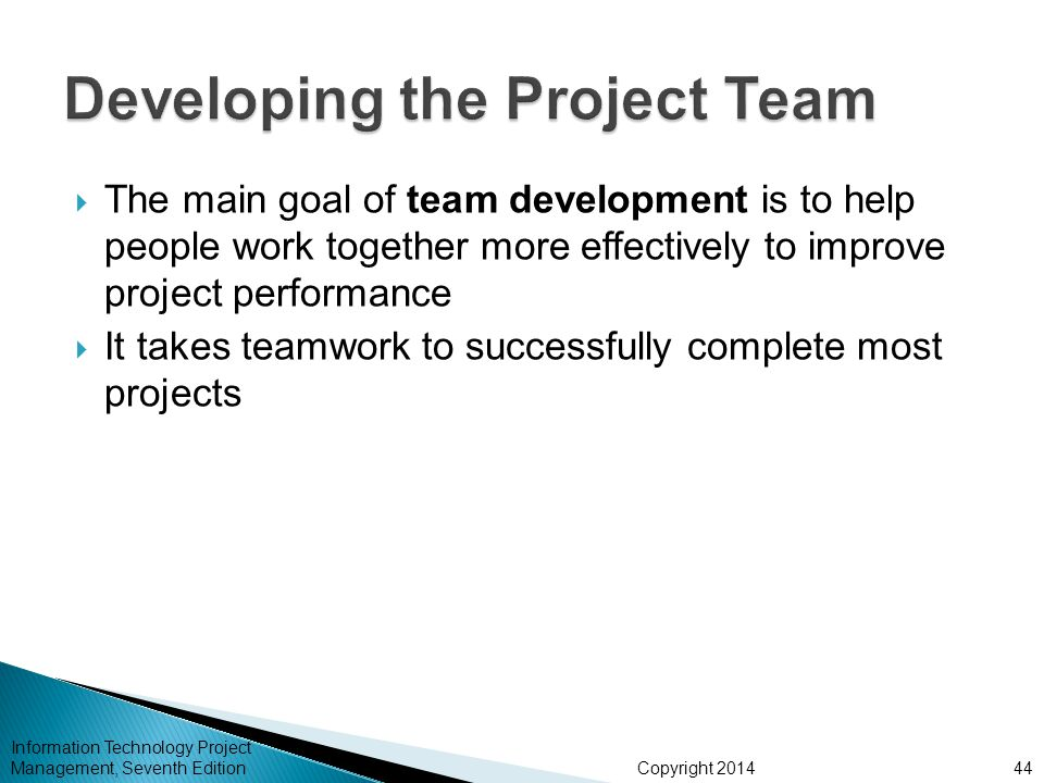 Copyright 2014  The main goal of team development is to help people work together more effectively to improve project performance  It takes teamwork