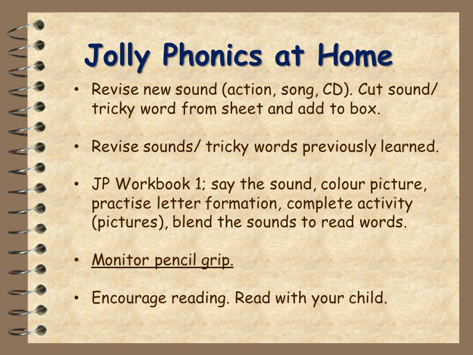Jolly Phonics at Home Revise new sound (action, song, CD).