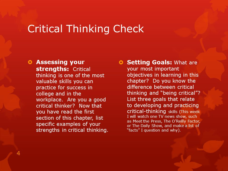 Critical thinking sample test