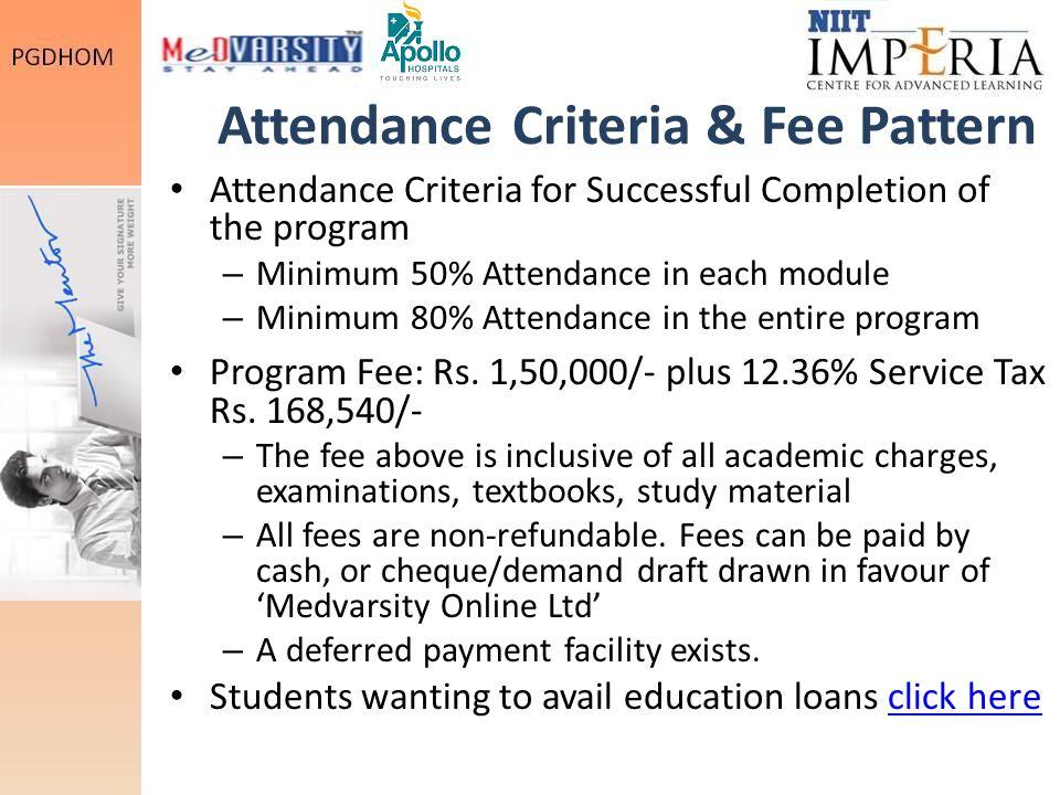 Attendance Criteria & Fee Pattern Attendance Criteria for Successful Completion of the program – Minimum 50% Attendance in each module – Minimum 80% Attendance in the entire program Program Fee: Rs.