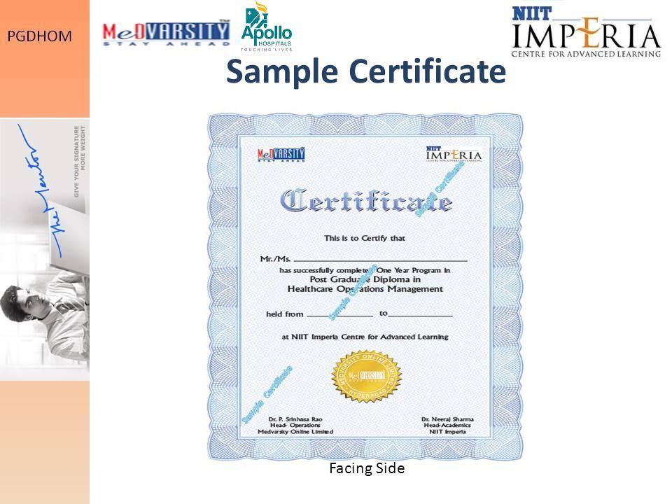 Sample Certificate Facing Side