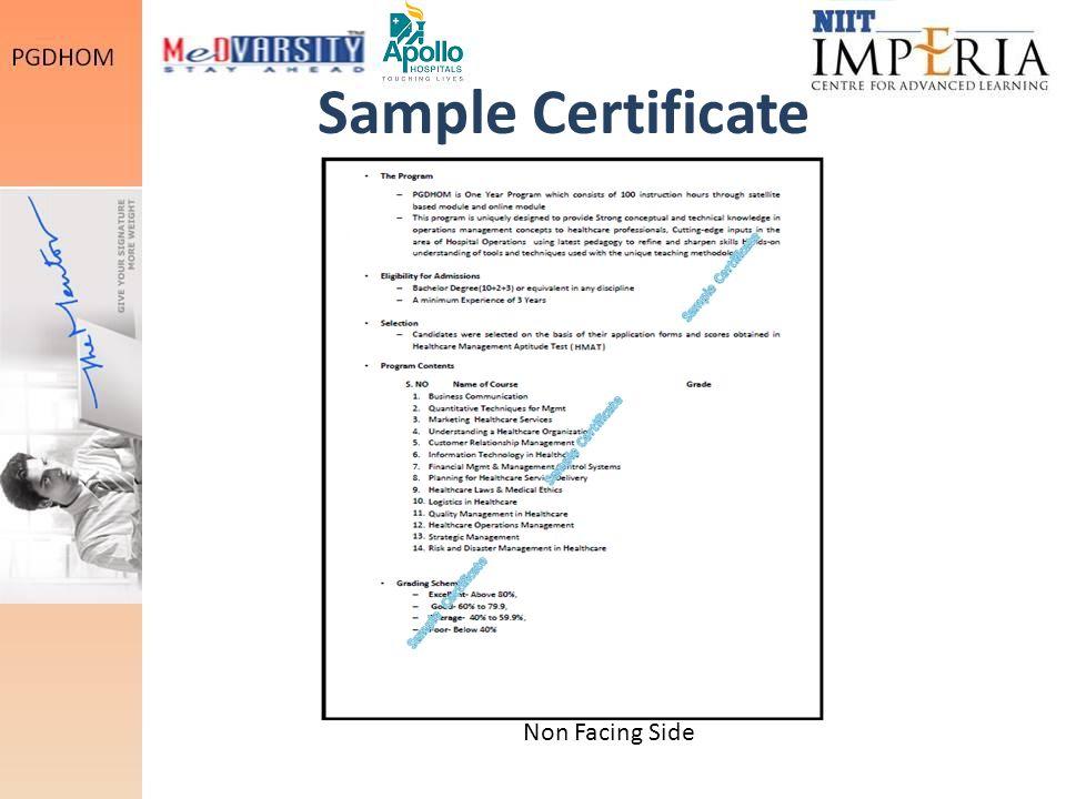Sample Certificate Non Facing Side