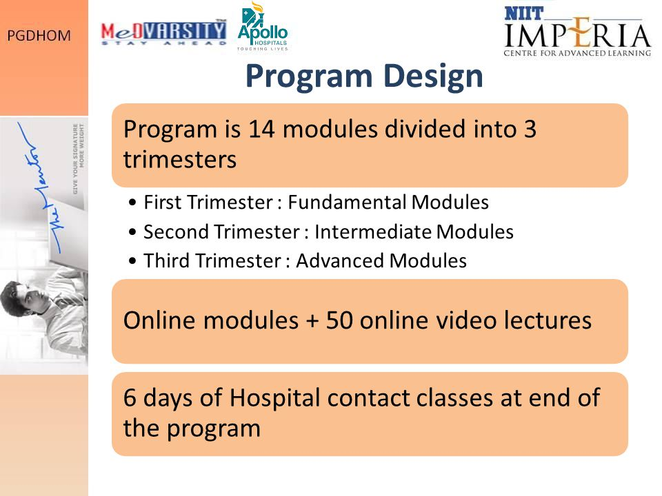Program Design Program is 14 modules divided into 3 trimesters First Trimester : Fundamental Modules Second Trimester : Intermediate Modules Third Trimester : Advanced Modules Online modules + 50 online video lectures 6 days of Hospital contact classes at end of the program