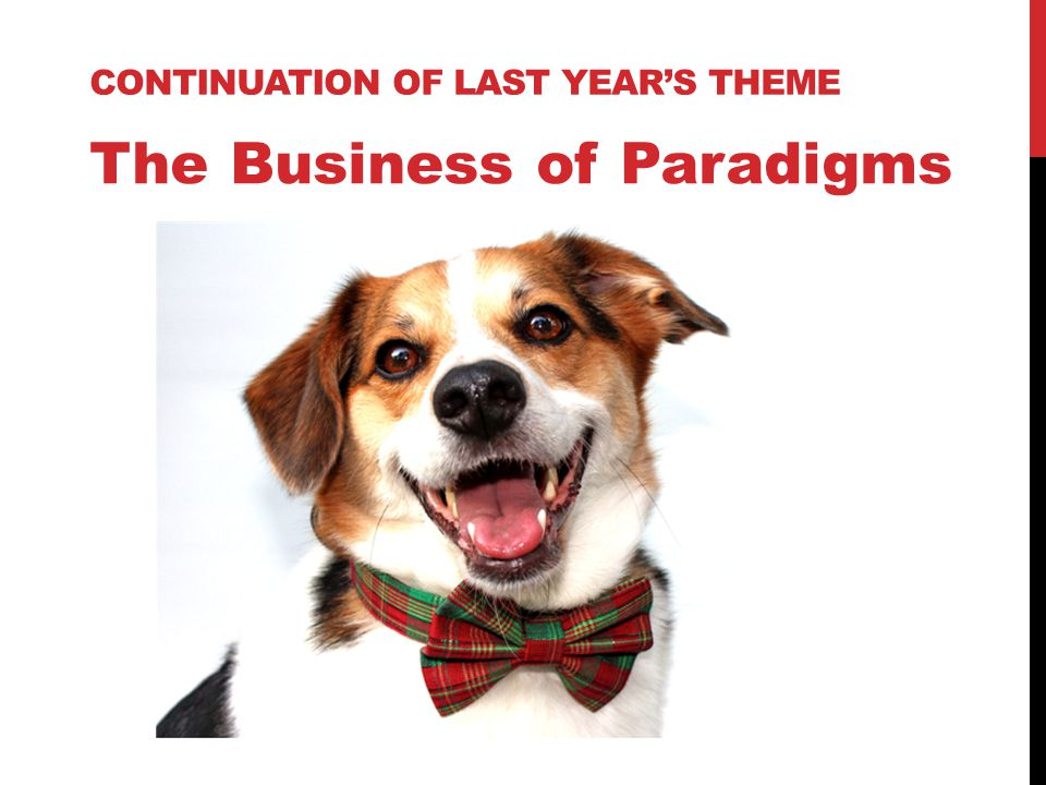 CONTINUATION OF LAST YEAR'S THEME The Business of Paradigms