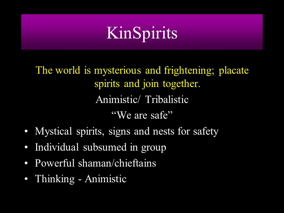 """KinSpirits The world is mysterious and frightening; placate spirits and join together. Animistic/ Tribalistic """"We are safe"""" Mystical spirits, signs an"""