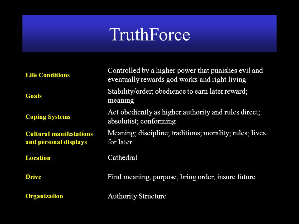 Authority Structure Organization Find meaning, purpose, bring order, insure future Drive Cathedral Location Meaning; discipline; traditions; morality;