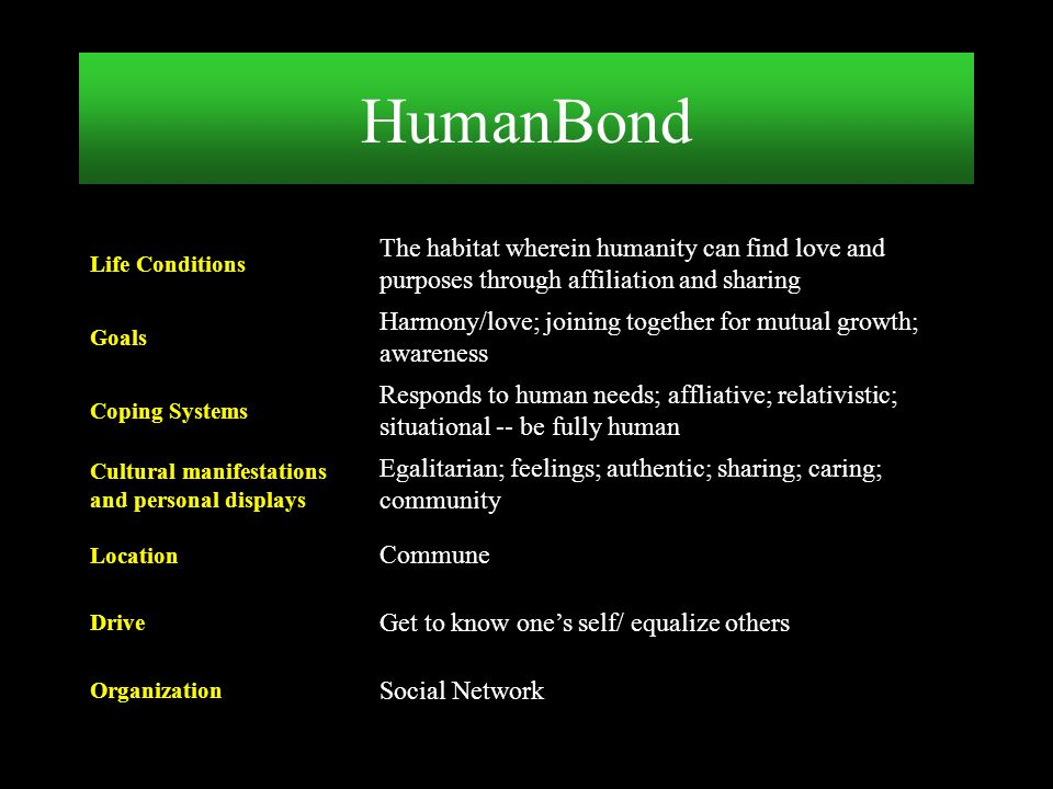 Social Network Organization Get to know one's self/ equalize others Drive Commune Location Egalitarian; feelings; authentic; sharing; caring; communit