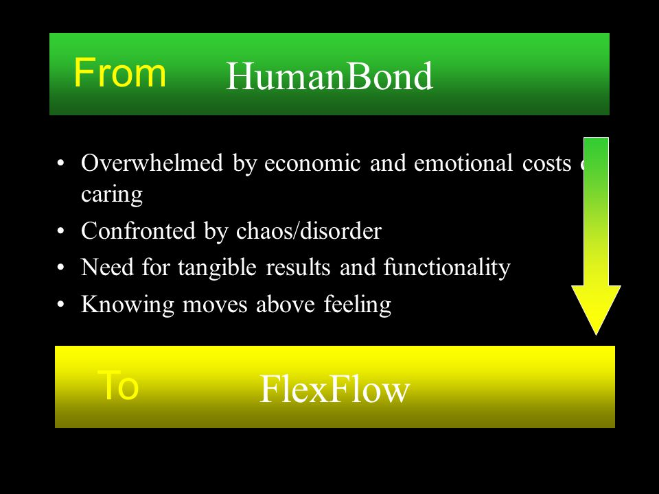 Overwhelmed by economic and emotional costs of caring Confronted by chaos/disorder Need for tangible results and functionality Knowing moves above fee