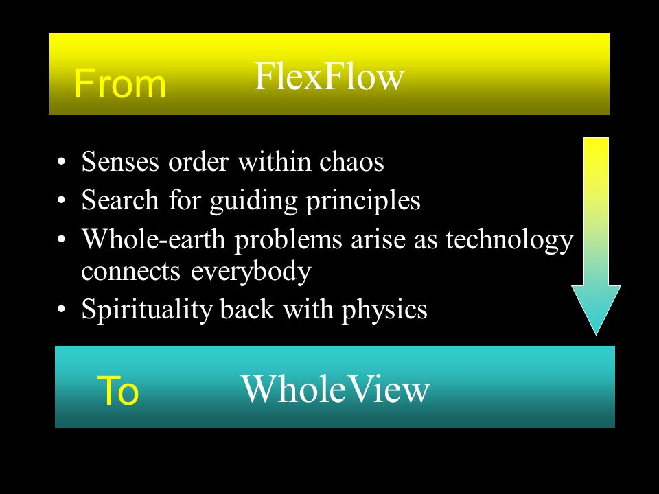 Senses order within chaos Search for guiding principles Whole-earth problems arise as technology connects everybody Spirituality back with physics Who