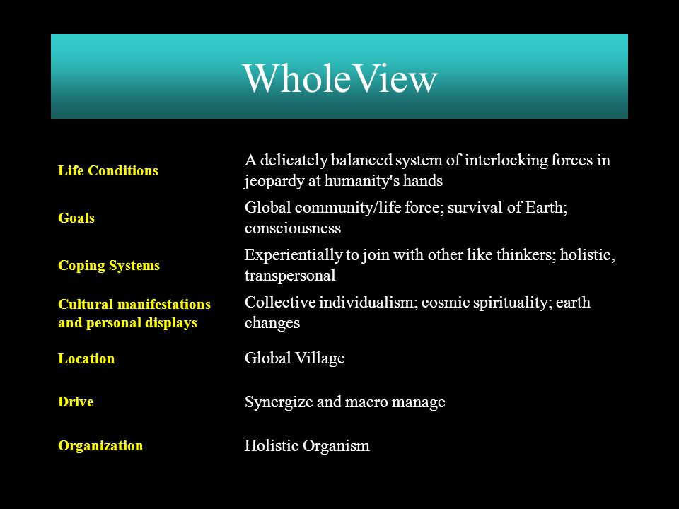 Holistic Organism Organization Synergize and macro manage Drive Global Village Location Collective individualism; cosmic spirituality; earth changes C